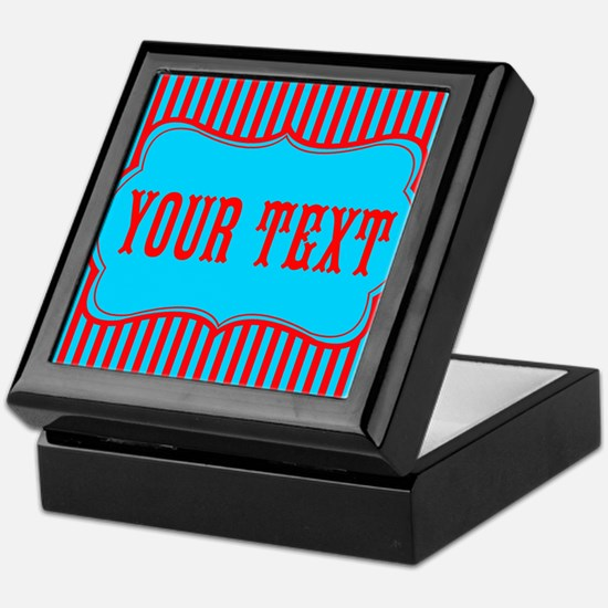 Personalizable Red and Teal Striped Keepsake Box