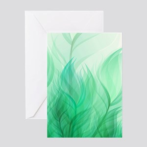 Beautiful Teal Green Feather Leaf Greeting Cards