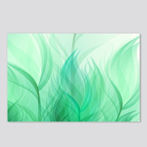 Beautiful Teal Green Feather Leaf Postcards (Packa