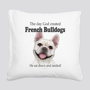 God smiled: Cream Frenchie Square Canvas Pillow