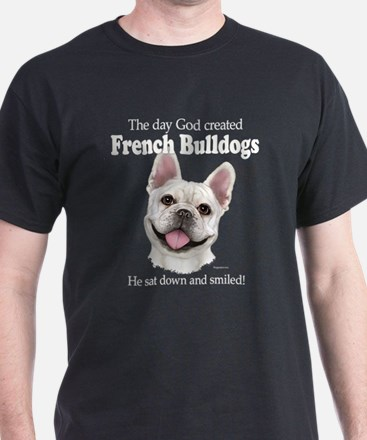 God smiled: Cream Frenchie T-Shirt