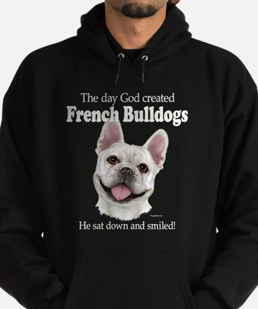 God smiled: Cream Frenchie Hoodie (dark)
