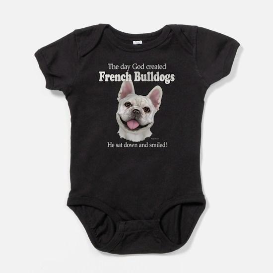 God smiled: Cream Frenchie Baby Bodysuit