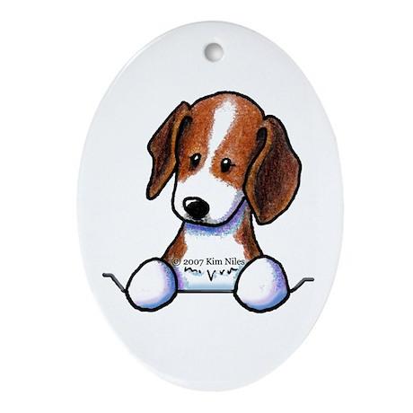 Pocket Beagle Oval Ornament