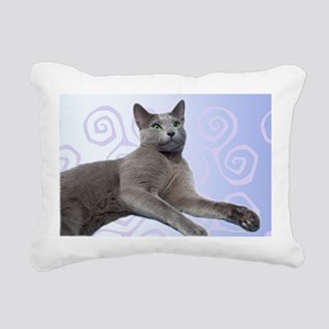 Russian Blue Cat Rectangular Canvas Pillow