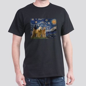 Starry Night & 2 Wheatens Dark T-Shirt