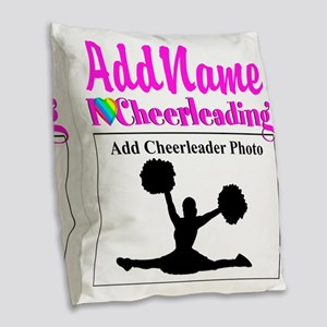 AWESOME CHEER Burlap Throw Pillow