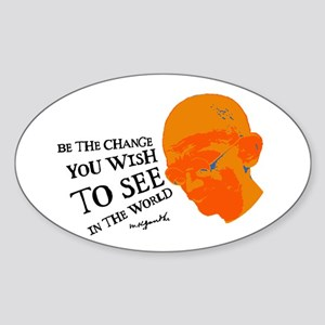 Gandhi G - Pop - Be The Chang Oval Sticker