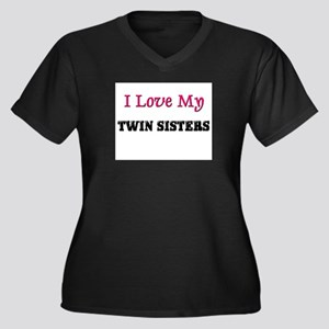 I LOVE MY TWIN-SISTERS Women's Plus Size V-Neck Da