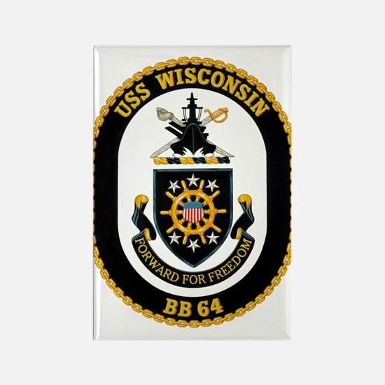 Uss Wisconsin Bb-64 Rectangle Magnet Magnets