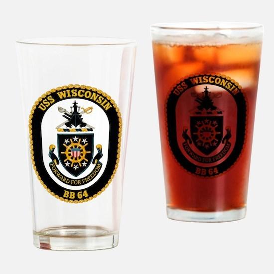 USS Wisconsin BB-64 Drinking Glass