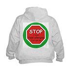 STOP I have food allergies Kids Hoodie-back design