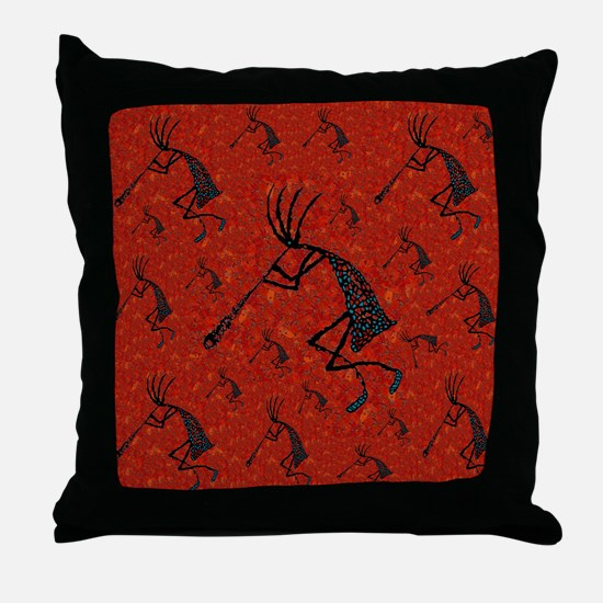 21 Red Coral and Turquoise Ko Throw Pillow