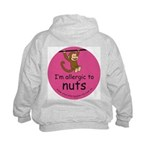 I'm allergic to nuts-pink Kids Hoodie-back design