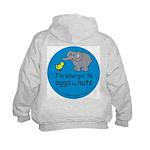 Alllergic to eggs & nuts Kids hoodie-back design