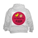 I'm allergic to eggs-red Kids Hoodie-back design