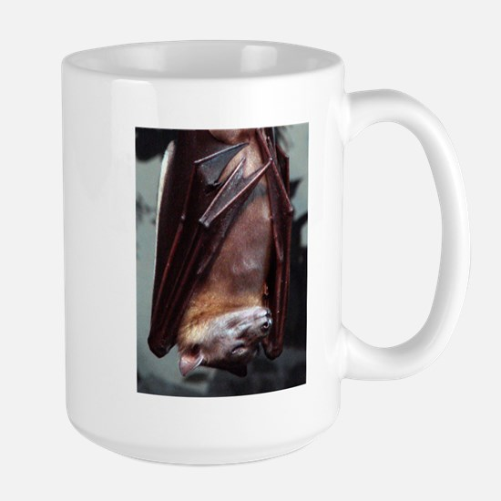 A sleeping Straw-Colored Fruit Bat Stainless Steel