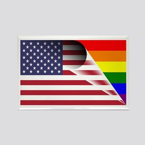 Flag Of U.s.a. Gay Pride Rainbow Magnets