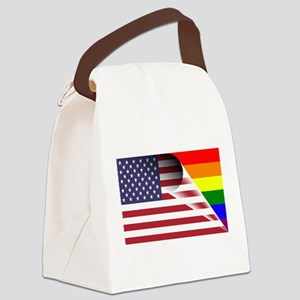 Flag Of U.S.A. Gay Pride Rainbow Canvas Lunch Bag