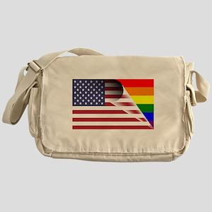 Flag Of U.S.A. Gay Pride Rainbow Messenger Bag