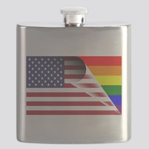 Flag Of U.S.A. Gay Pride Rainbow Flask
