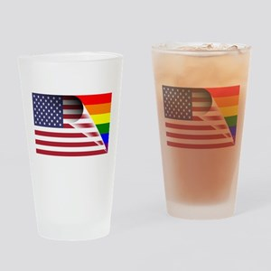 Flag Of U.S.A. Gay Pride Rainbow Drinking Glass
