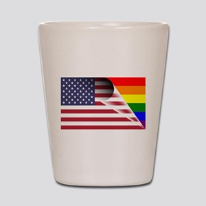 Flag Of U.S.A. Gay Pride Rainbow Shot Glass