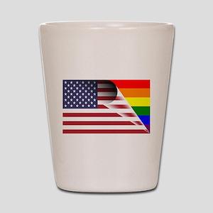 Flag Of U.S.A. Gay Pride Rainbow Shot Glass