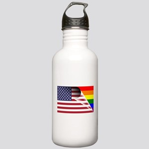 Flag Of U.S.A. Gay Pride Rainbow Water Bottle