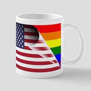 Flag Of U.S.A. Gay Pride Rainbow Mugs