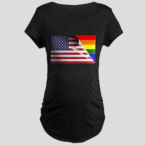 Flag Of U.S.A. Gay Pride Rainbow Maternity T-Shirt