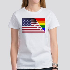 Flag Of U.S.A. Gay Pride Rainbow T-Shirt