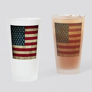USA Flag - Grunge Drinking Glass