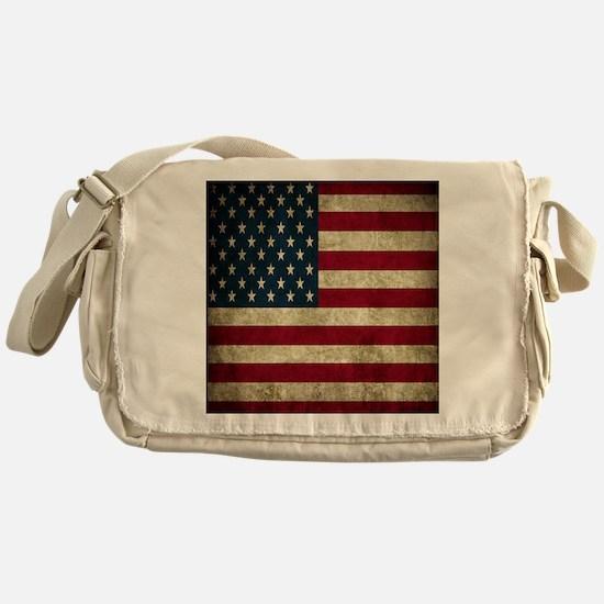 USA Flag - Grunge Messenger Bag