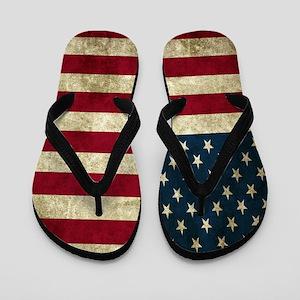 USA Flag - Grunge Flip Flops