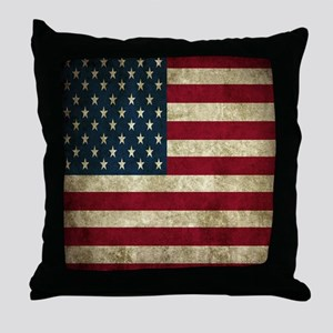 USA Flag - Grunge Throw Pillow