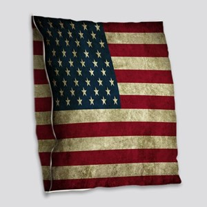 USA Flag - Grunge Burlap Throw Pillow