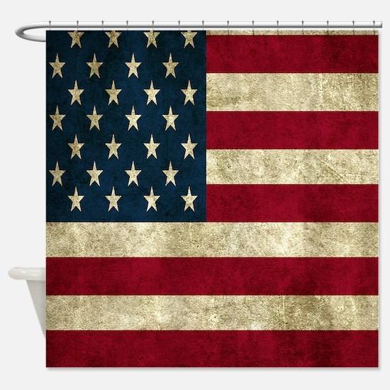 USA Flag - Grunge Shower Curtain