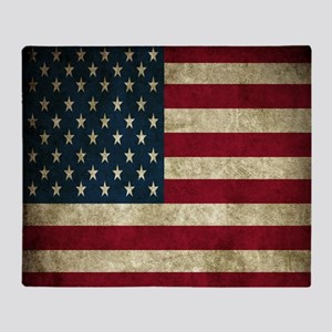 USA Flag - Grunge Throw Blanket