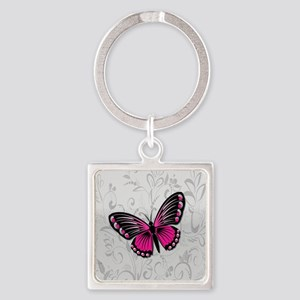 Whimsical Pink Butterfly on gray floral Keychains