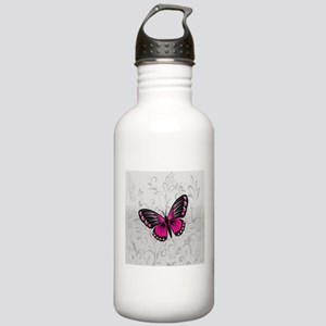 Whimsical Pink Butterfly on gray floral Water Bott