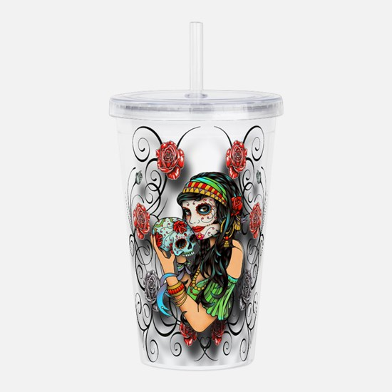 Candy Rose Skull Acrylic Double-wall Tumbler