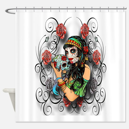 Candy Rose Skull Shower Curtain
