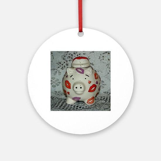 Adorable Lipstick Pig Round Ornament