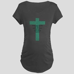 John 1:1 Cross green Maternity T-Shirt