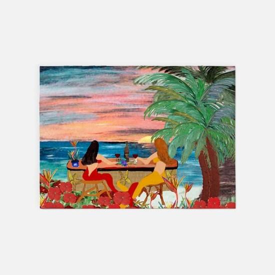 Mermaids Tiki Wine Bar Beach Area Rug5'x7'area Rug
