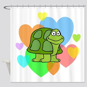 Turtle Hearts Shower Curtain