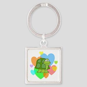 Turtle Hearts Square Keychain