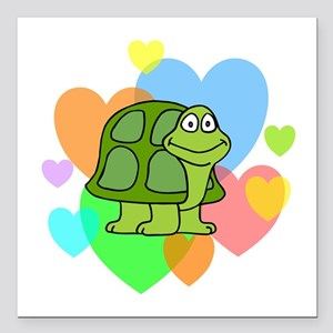 """Turtle Hearts Square Car Magnet 3"""" x 3"""""""