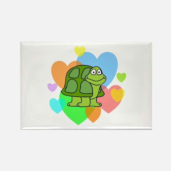 Turtle Hearts Rectangle Magnet